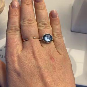 Swarovski crystal blue oval silver ring size 8